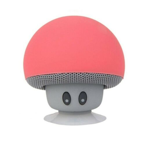 Portable Wireless Bluetooth Mini Cute Mushroom Shaped Audio Speaker Phone Bracket red
