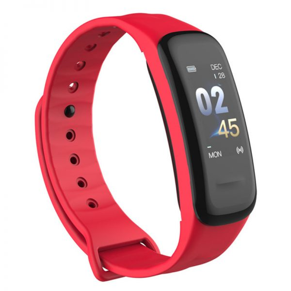 Smart Bracelet Color-screen Fitness Tracker Blood Pressure Heart Rate Monitor Sleep Tracker Wristband for Android IOS red