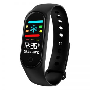 Smart Bracelet Color-screen IP67 Fitness Tracker Blood Pressure Heart Rate Monitor Smart Band for Android IOS Phone black