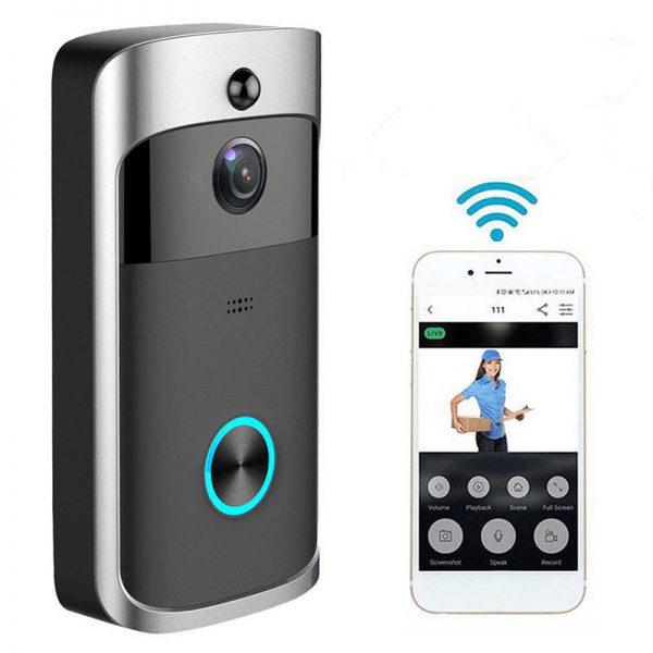 Wireless WiFi DoorBell Smart Video Phone Door Visual Ring Intercom Secure Camera - Black
