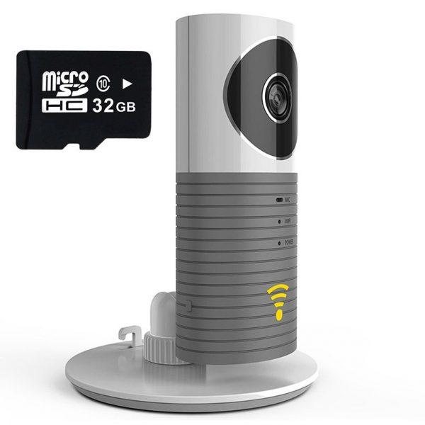 720P Home HD Wifi Wireless IP Night Vision Camera Support Two-way Voice Intercom gray