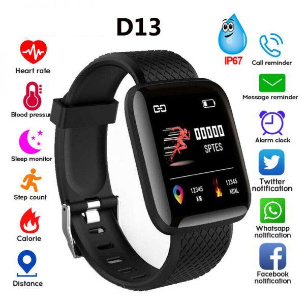 D13 Bluetooth Heart Rate Blood Pressure Smart Watch Fitness Tracker Bracelet black