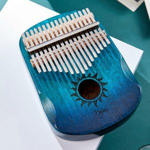 17 Keys EQ Kalimba Sun Pattern Mahogany Thumb Piano Classic Musical Instrument Wood Keyboard With Arc Hand Guards Blue Kalimba