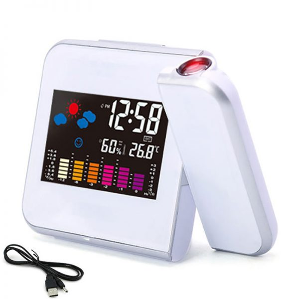 Projection LED Digital Clock with Weather Station Temperature Hygrometer Alarm Clock Calendar Date  White