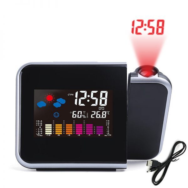 Projection LED Digital Clock with Weather Station Temperature Hygrometer Alarm Clock Calendar Date  Black