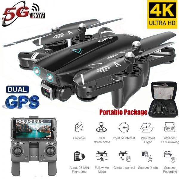 S167 GPS Drone With Camera 5G RC Quadcopter Drone 4K WIFI FPV Foldable Off-Point Flying Gesture 5G 4K 3 battery