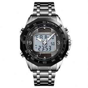 SKMEI Men Solar Quartz Digital Watch Dual Time Date Week Waterproof EL Light Alarm Sports Wristwatch Silver black