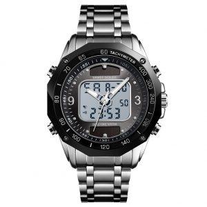 SKMEI Men Solar Quartz Digital Watch Dual Time Date Week Waterproof EL Light Alarm Sports Wristwatch Silver black