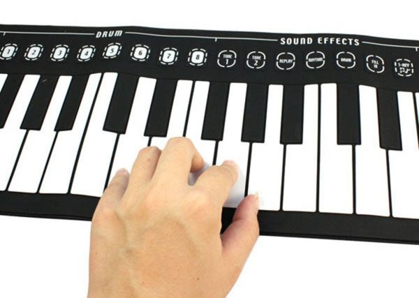 Silicone Roll-Up Piano - 49 Keys, 8 Tones, Built-in Speakers, Head Phone Support, Lightweight, Dual-Charging
