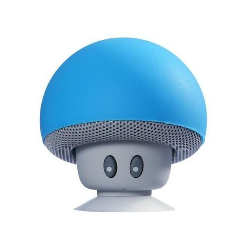 Portable Wireless Bluetooth Mini Cute Mushroom Shaped Audio Speaker Phone Bracket blue