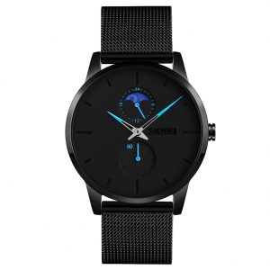 SKMEI Men Quartz Watch Second 24-Hour Display Waterproof Stainless Steel Simple Wristwatch Blue