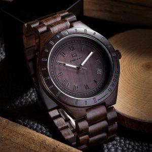 Men Fashion Waterproof Wood Watch Pointed Quartz Movement Wristwatch Watch 2#