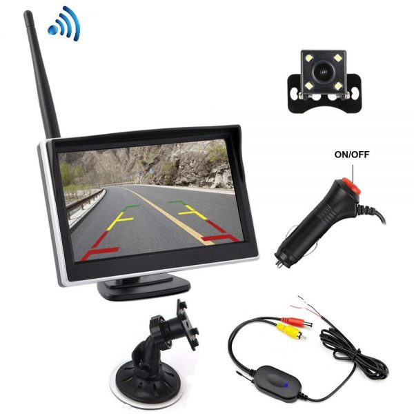 "Rear View Parking Camera - 5-Inch LCD Display,IP68 Waterproof, 1/4"""" color Sensor  Sensor, 170-Degree Lens, For Truck, Car, Bus"